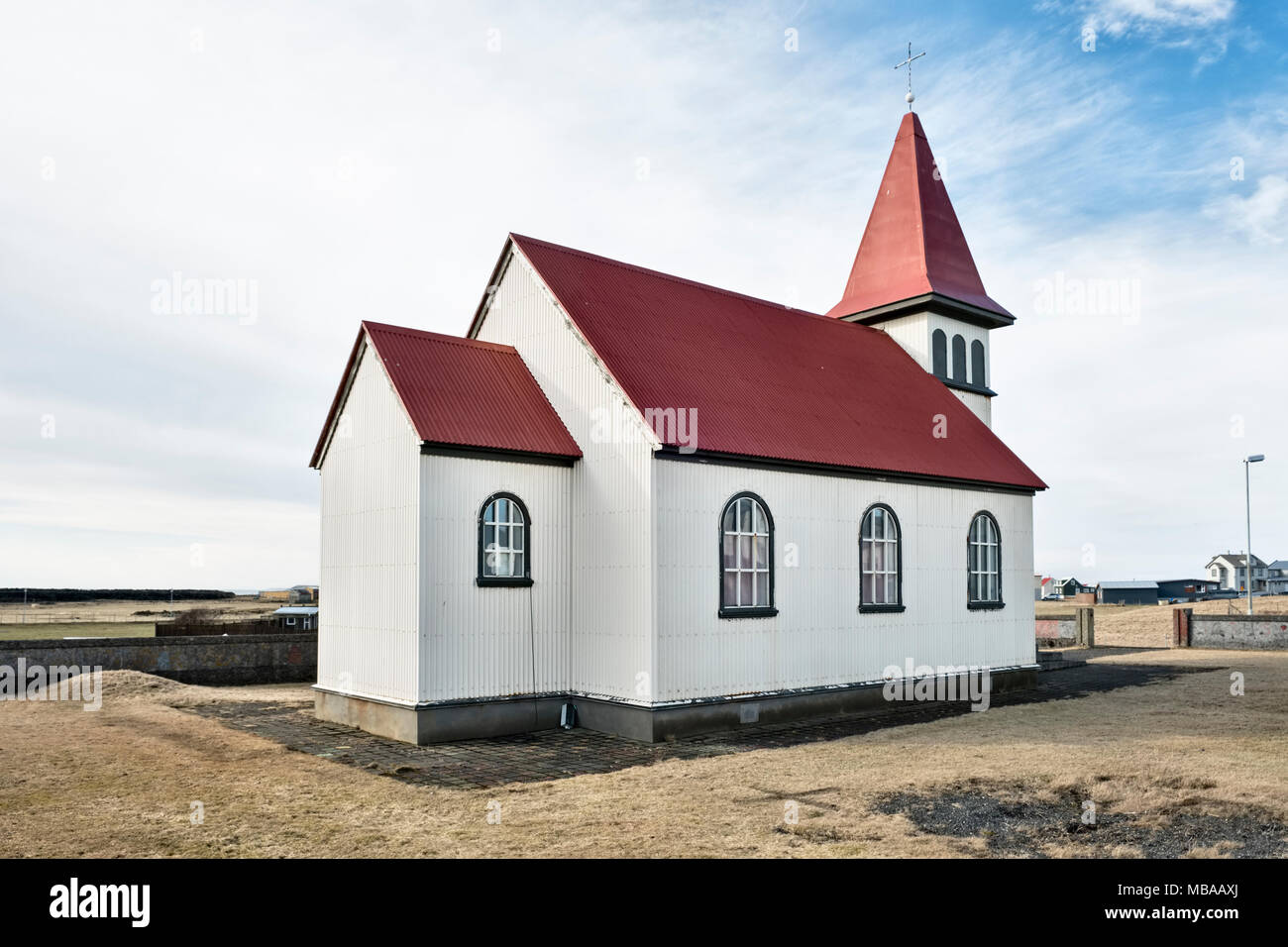 Grindavik, Iceland. The old corrugated iron church was built in 1909 - Stock Image