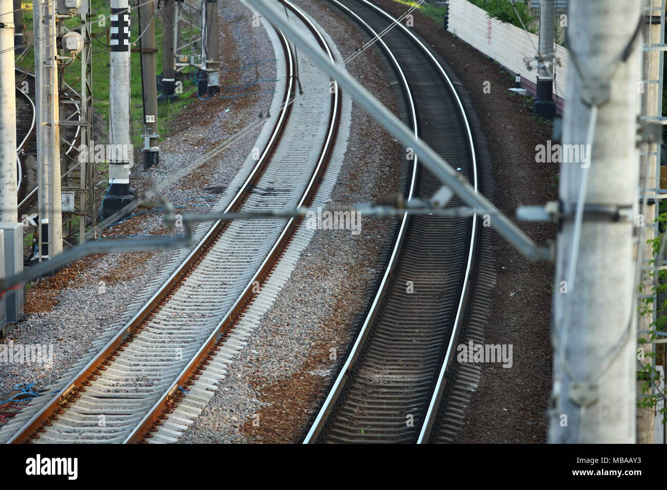 Train catenary and power line cables Stock Photo