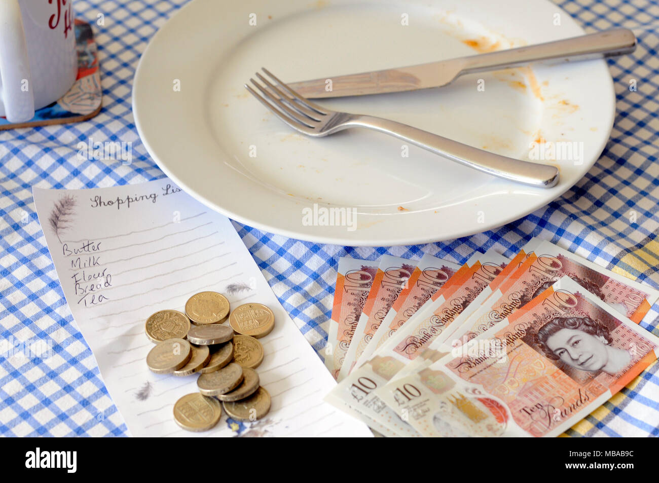 The high price of food and shopping bills for the average person in England has rocketed around the uncertainty of Brexit many worry about poverty. Stock Photo