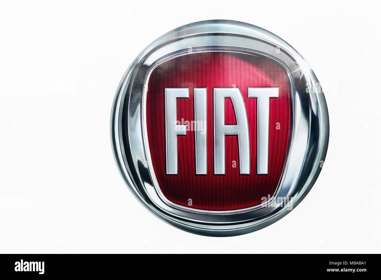 Roskilde, Denmark - September 10, 2017: Fiat logo on a wall. Fiat Chrysler Automobiles is an Italian-American corporation Stock Photo