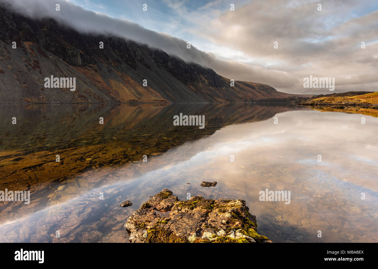 Stunning reflections and cloud over Wast Water - Wasdale - Stock Image
