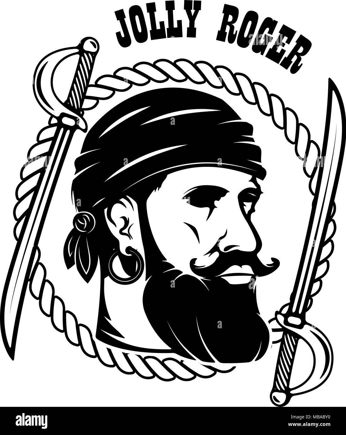 pirates emblem template with swords and pirate head design element