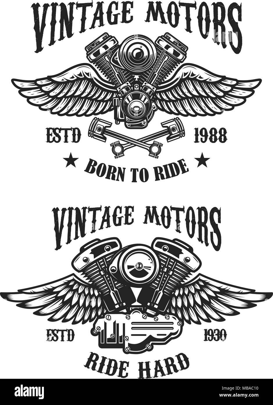 Set of emblems with vintage winged motors. Design element for logo, label, emblem, sign, poster, t shirt. Vector illustration - Stock Vector