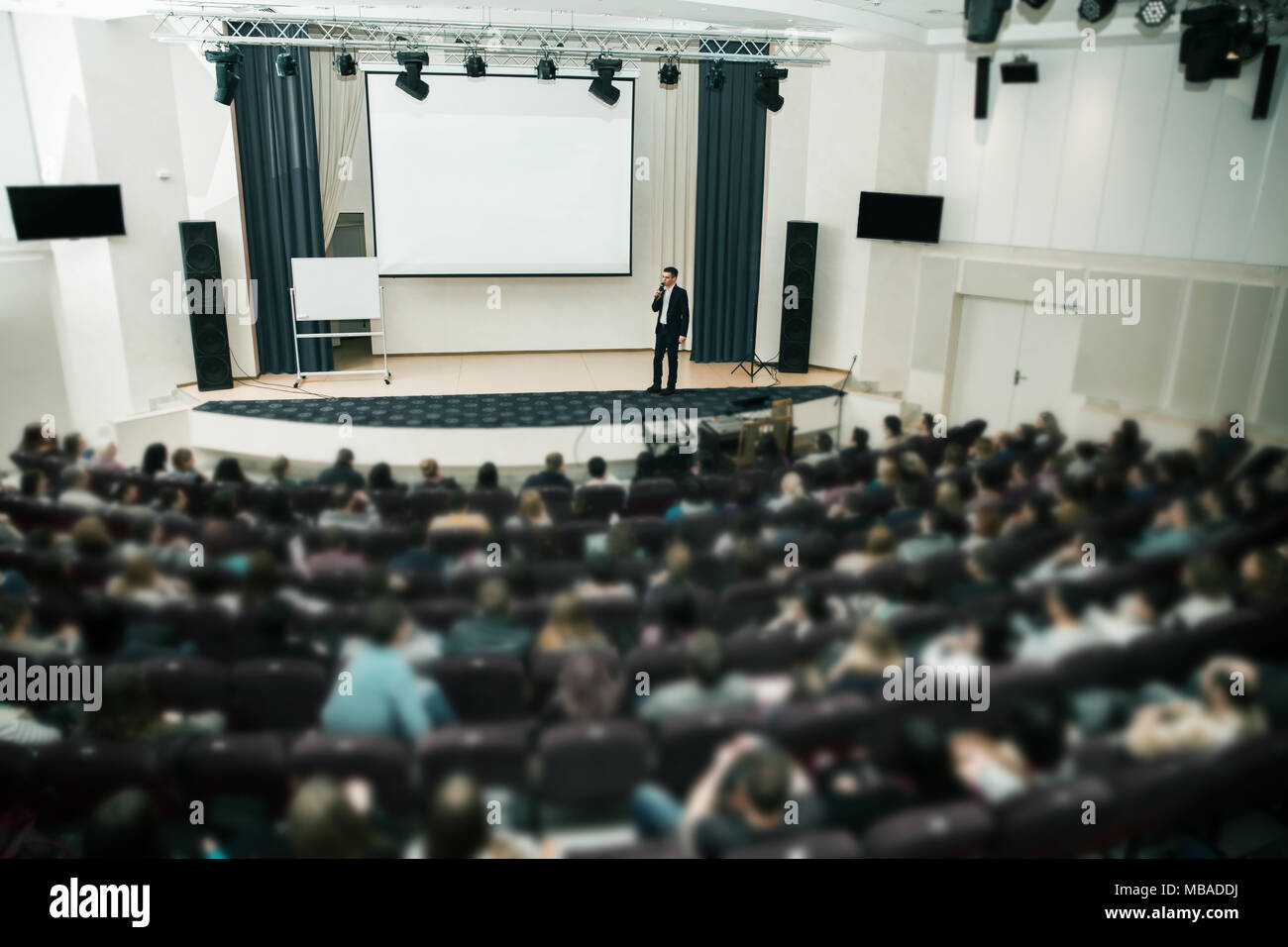 Speaker at Business Conference and Presentation. Audience the conference hall. - Stock Image
