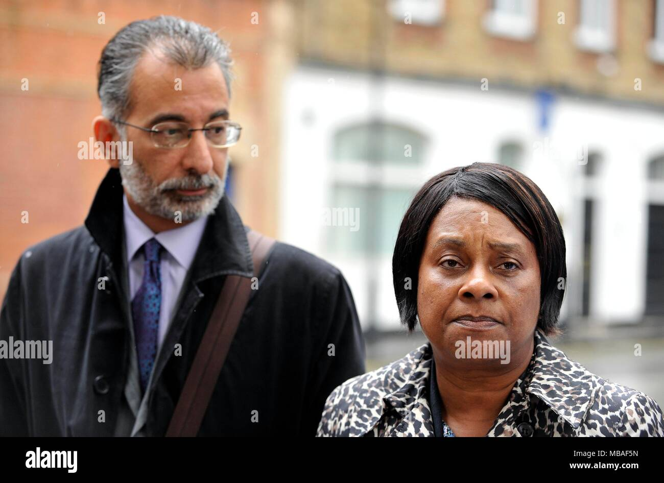 """Embargoed to 0001 Tuesday April 10 Doreen Lawrence, the mother of murdered teenager Stephen Lawrence, with leading lawyer Imran Khan who has claimed institutional racism is """"thriving"""" in the Metropolitan Police, nearly 25 years on from the murder Mr Lawrence. - Stock Image"""