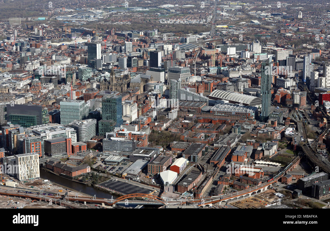 aerial view of Manchester city centre, UK - Stock Image