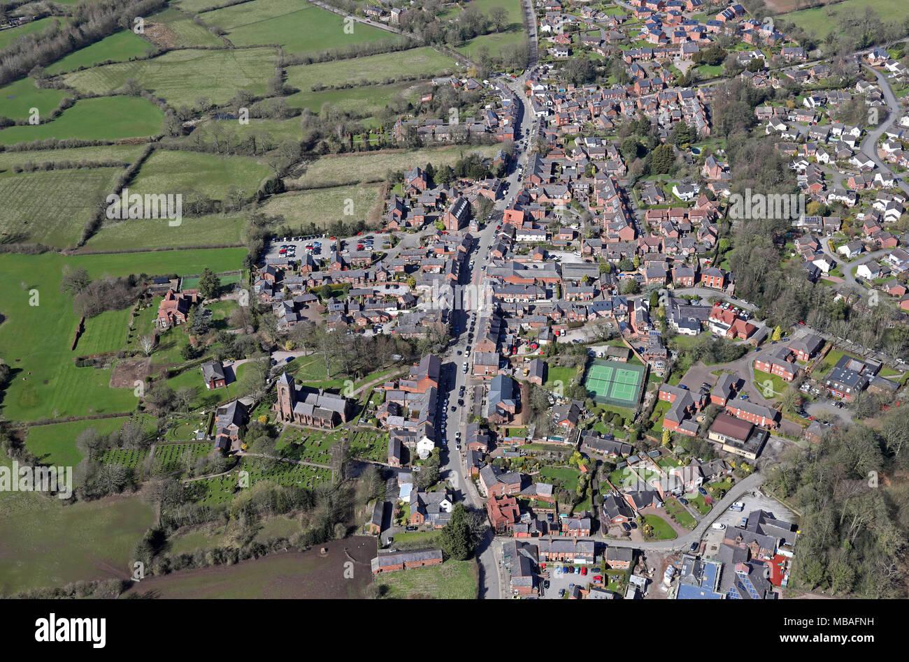 aerial view of Tarporley village in Cheshire, UK - Stock Image