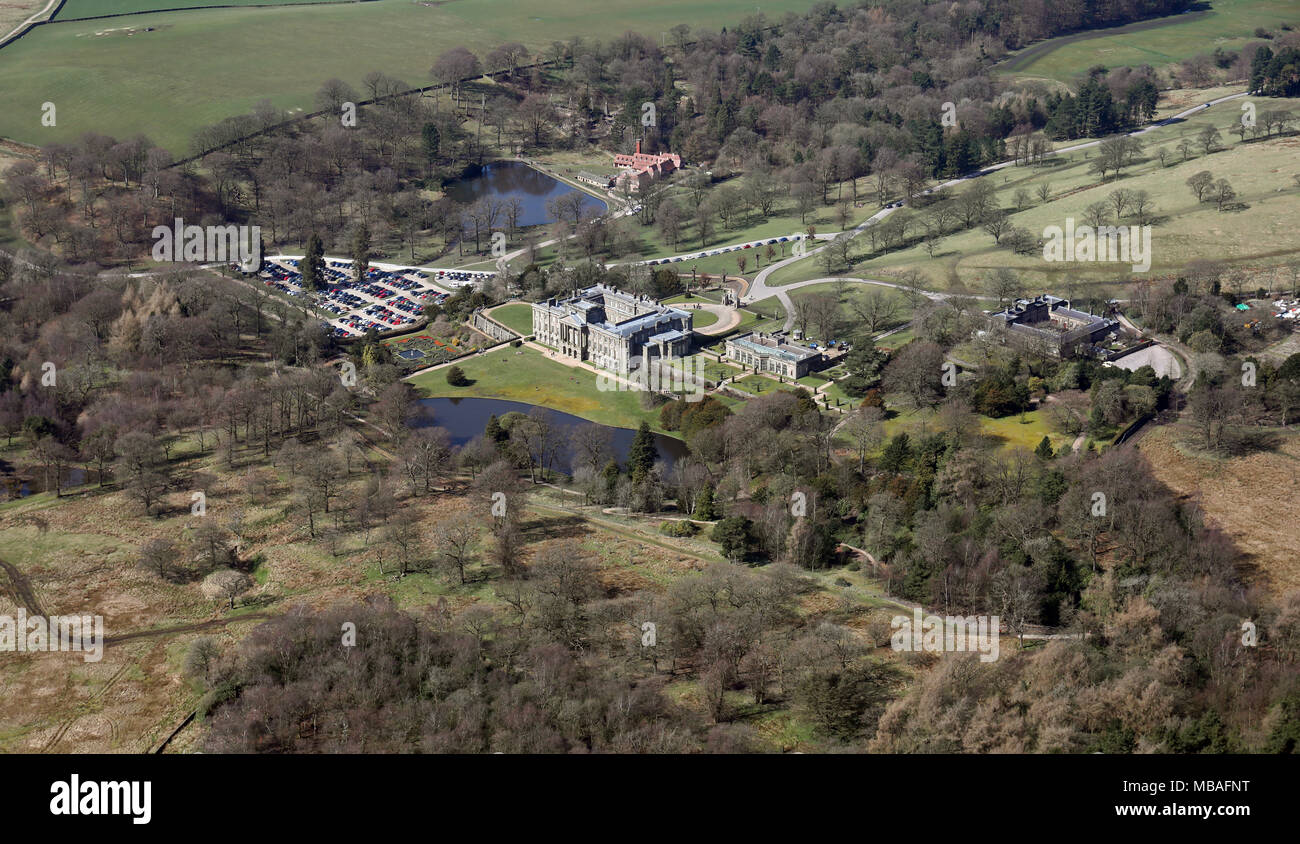 aerial view (from over 1500') of Lyme Park (Pemberley in Pride & Prejudice) in Cheshire, UK - Stock Image