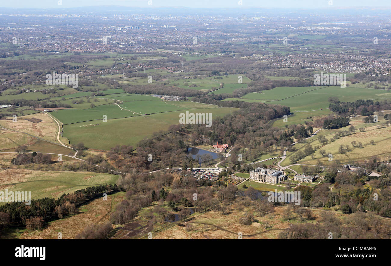 aerial view (from over 1500') of Lyme Park (Pemberley in Pride & Prejudice) in Cheshire, with Manchester in distance - Stock Image