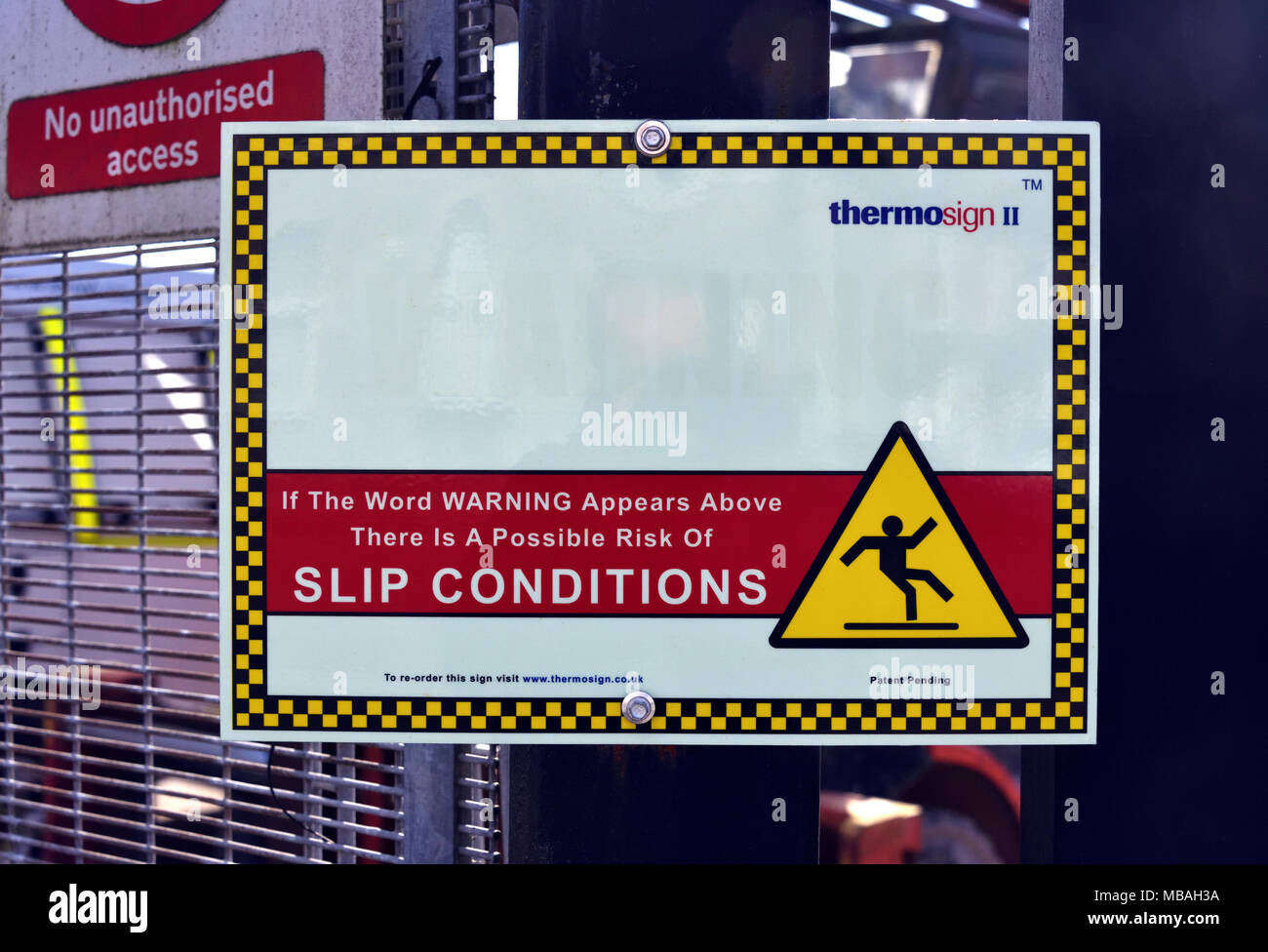 Thermosign II self-adhesive weather sign on backing board. Industrial site, Parkside Road, Kendal, Cumbria, England, United Kingdom, Europe. - Stock Image