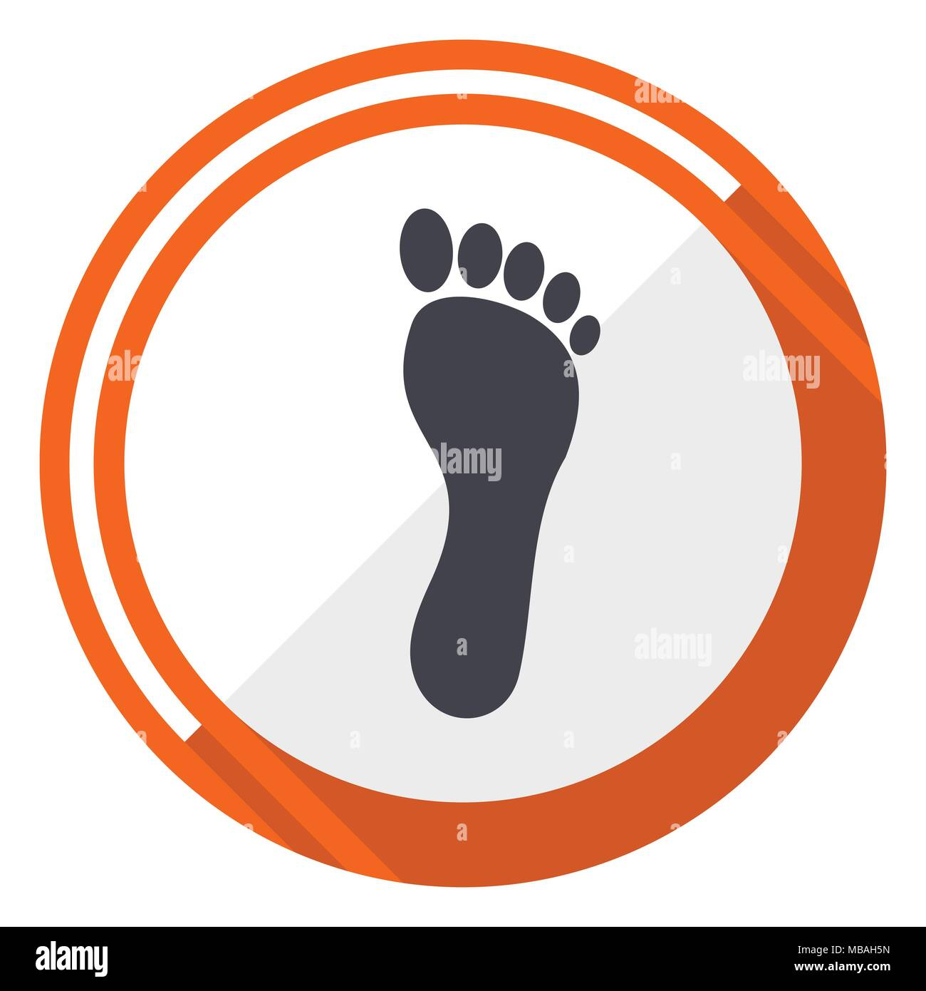 Foot flat design vector web icon. Round orange internet button isolated on white background. - Stock Vector