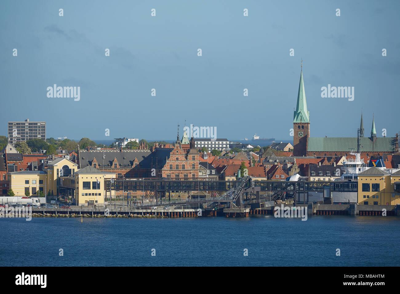 View of Helsingor or Elsinore from Oresund strait in Denmark. Stock Photo
