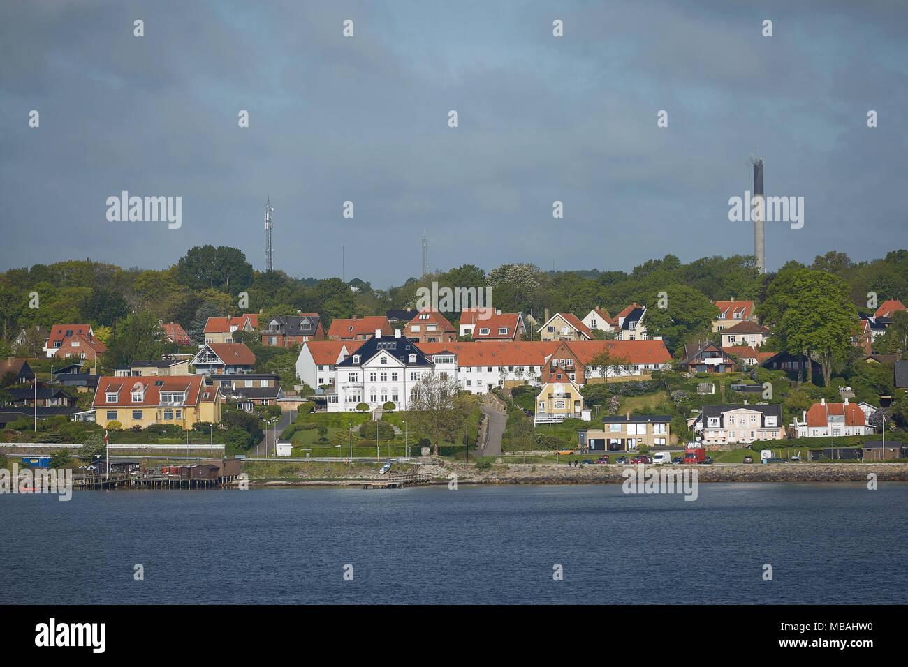 View of Helsingor or Elsinore from Oresund strait in Denmark. - Stock Image