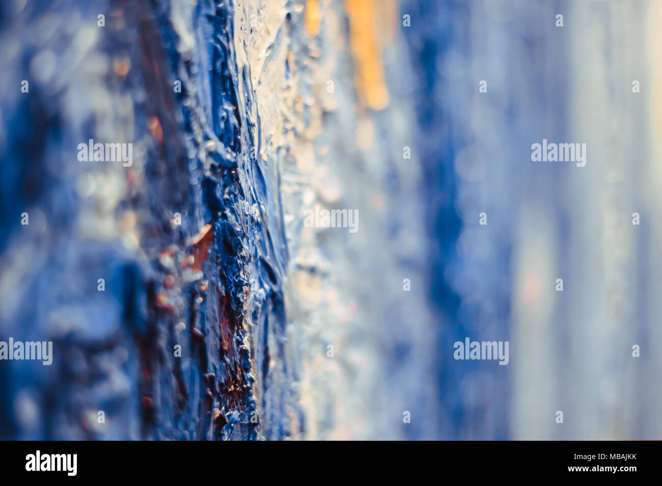 abstract wallpaper of oil painting with brush strokes in cool colors - Stock Image