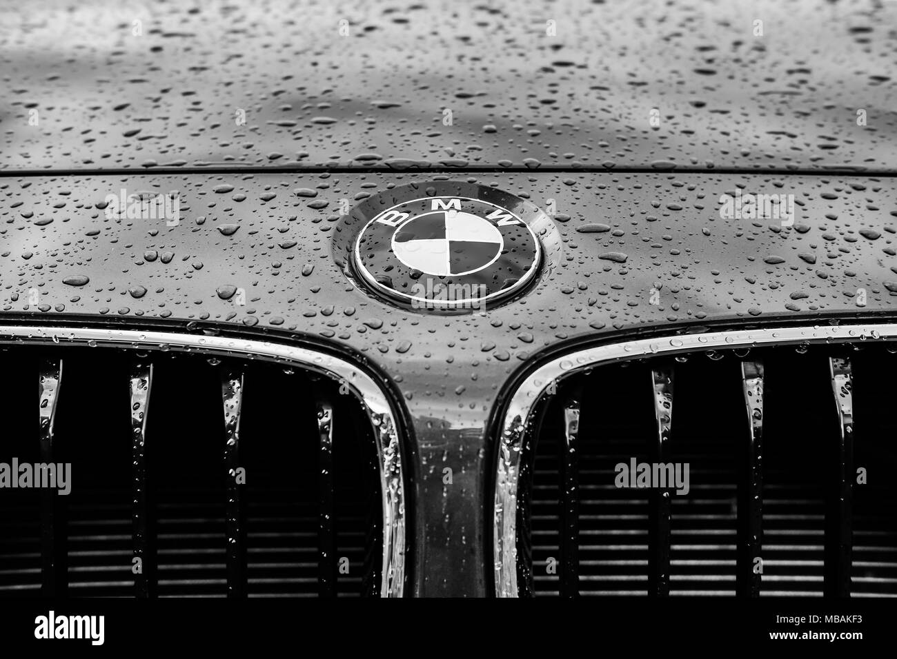Monochrome image of a luxury, german-made sports car showing details of its badge and grille area. - Stock Image