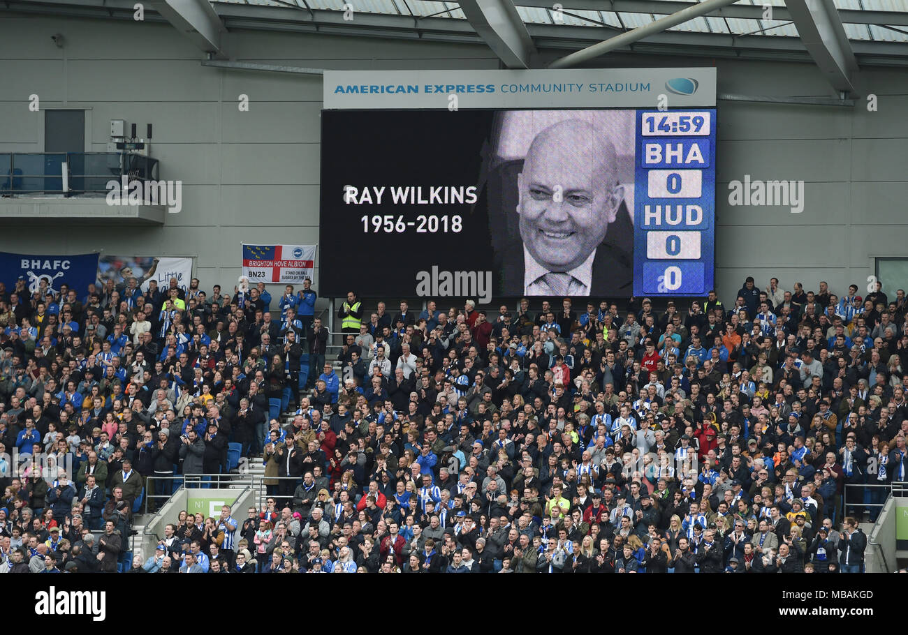 A minutes applause for Ray Wilkins who died earlier this week before the Premier League match between Brighton and Hove Albion and Huddersfield Town at the American Express Community Stadium in Brighton and Hove. 07 Apr 2018                                                                   Editorial use only. No merchandising. For Football images FA and Premier League restrictions apply inc. no internet/mobile usage without FAPL license - for details contact Football Dataco - Stock Image