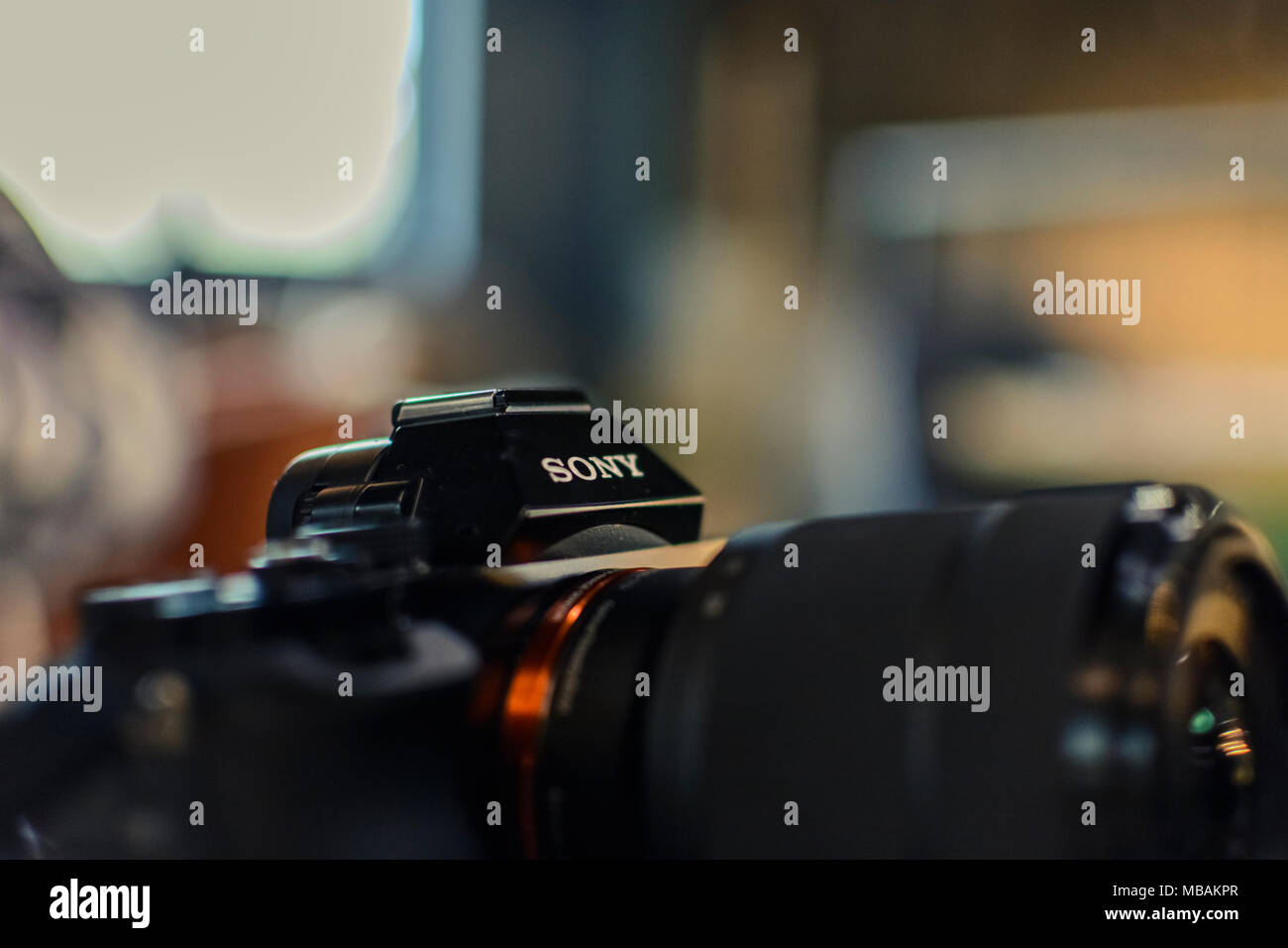 VARNA, BULGARIA,February 24, 2017: Abstract Close-Up of The Sony A7 against blury background. - Stock Image