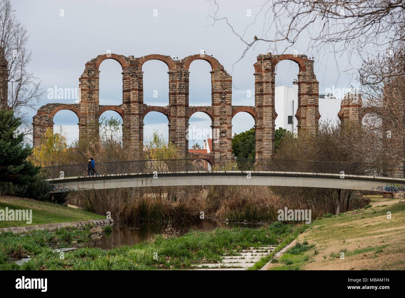 The aqueduct of miracles in the city of Mérida, Extremadura, Spain. Stock Photo
