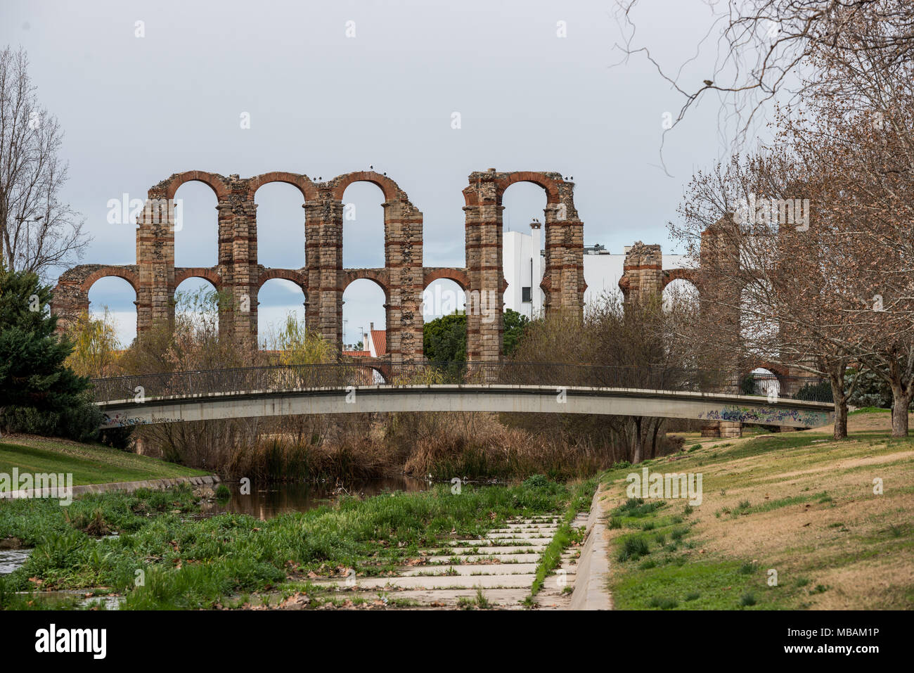 The aqueduct of miracles in the city of Mérida, Extremadura, Spain. - Stock Image