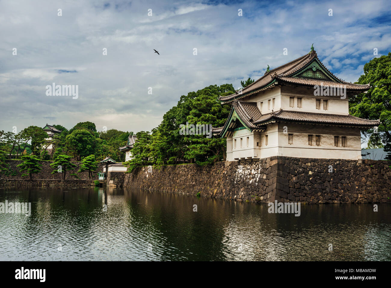 View of Tokyo Imperial Palace gardens ancient walls, fortified gate and moat Stock Photo