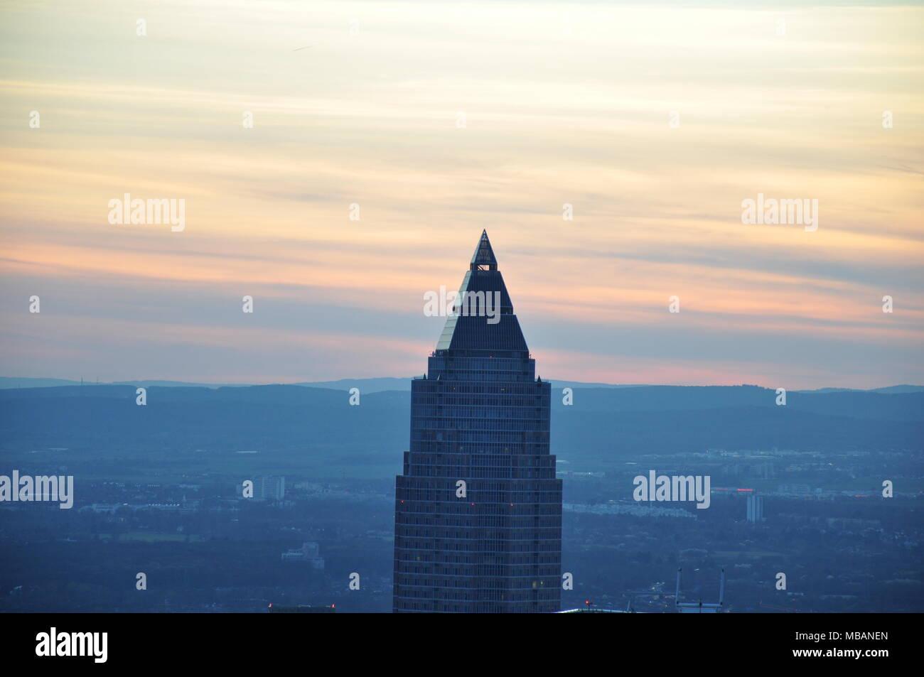 Messeturm from Maintower, Frankfurt, Germany Stock Photo