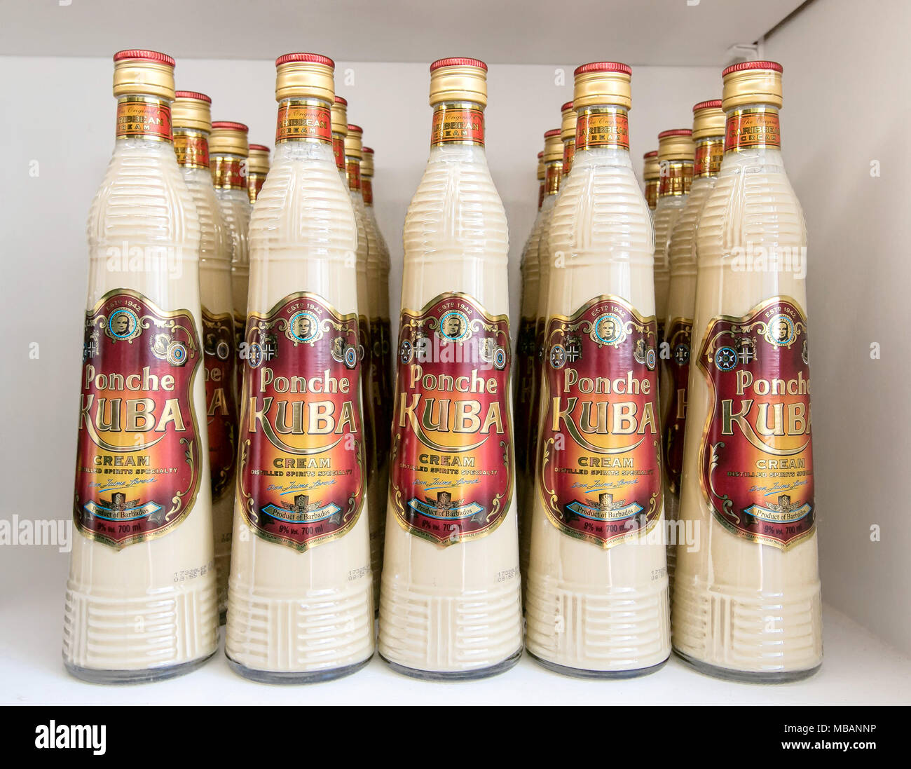 Barbados, March 23, 2018: Bottles of Ponche Kuba for sale at Mount Gay rum distillery. - Stock Image