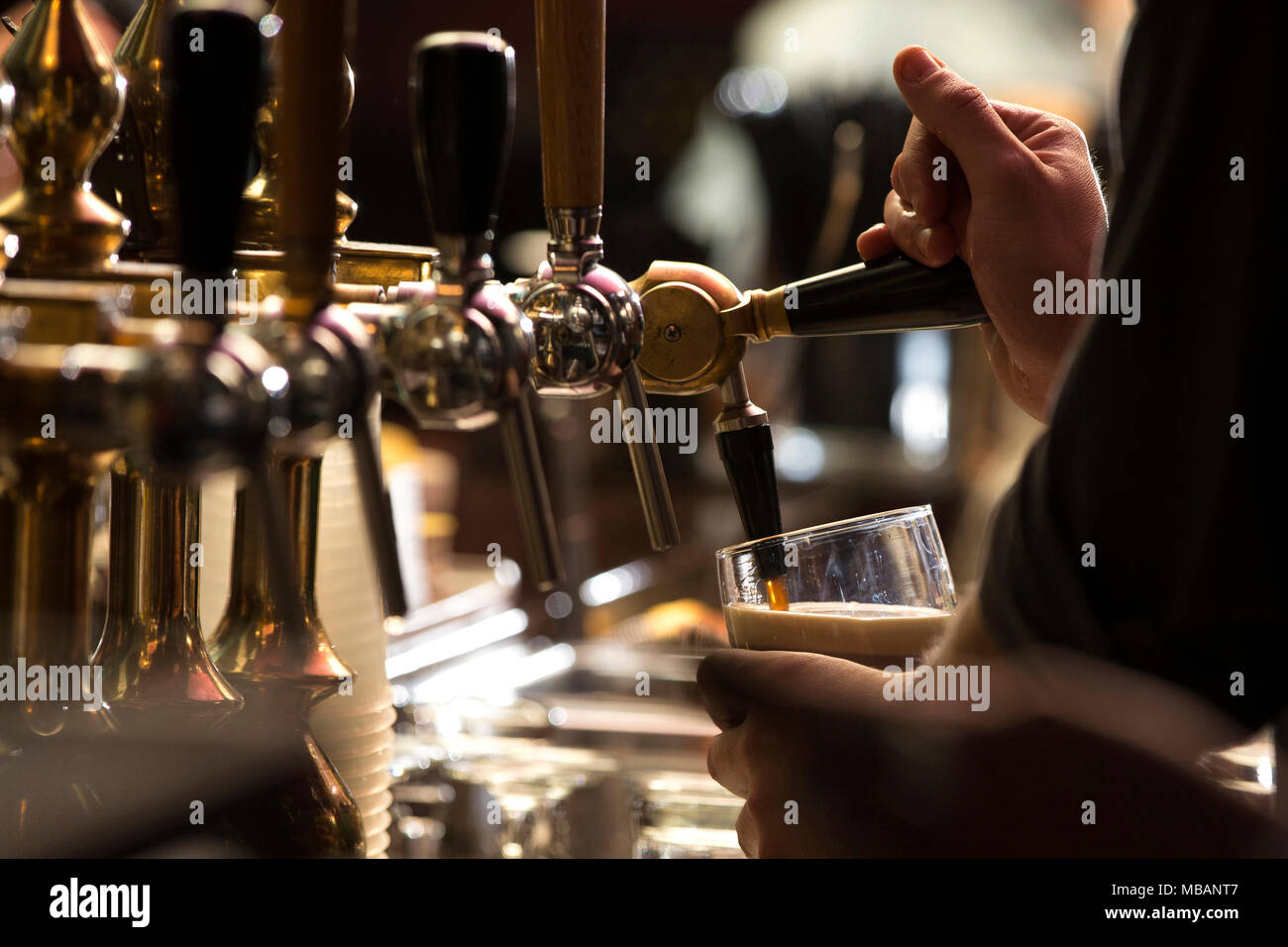 closeup of a bartender pouring a dark stout beer in tap with subject and focus on the right - Stock Image