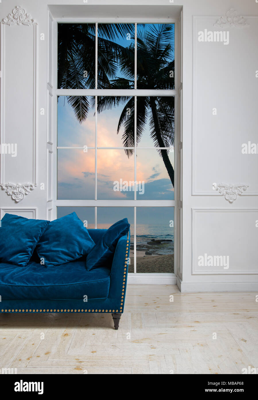 Stupendous Blue Sofa In White Classic Living Room With View Of Tropical Bralicious Painted Fabric Chair Ideas Braliciousco