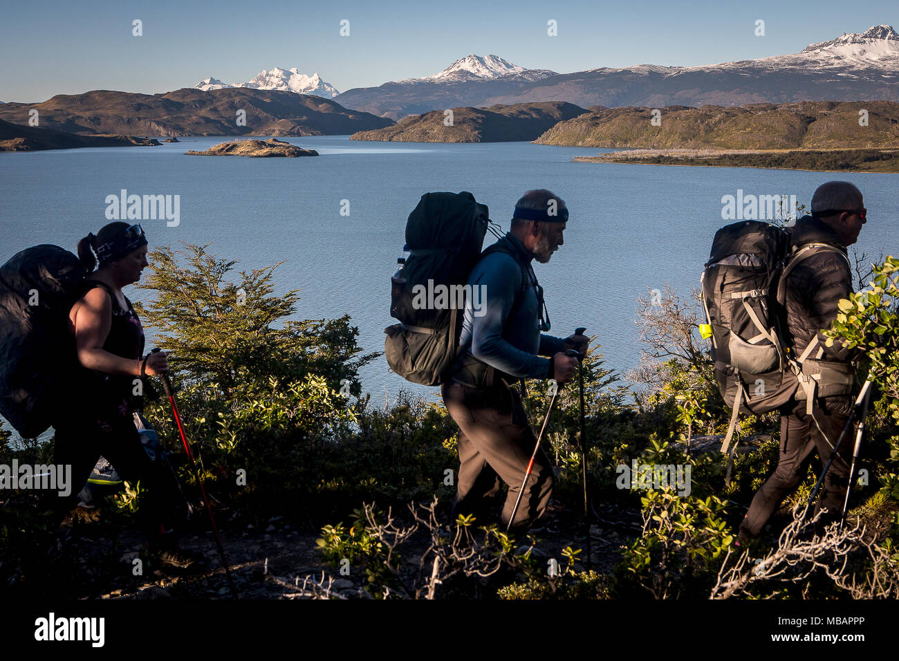 Lago Nordenskjöld and Hikers walking between Cuernos refuge and Campamento Italiano, Torres del Paine national park, Patagonia, Chile - Stock Image