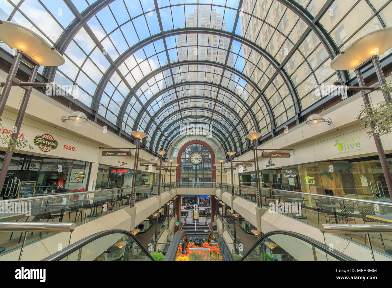 San Francisco, California - April 7, 2018: Interior of the Crocker Galleria Shopping Mall in the Financial District. - Stock Image