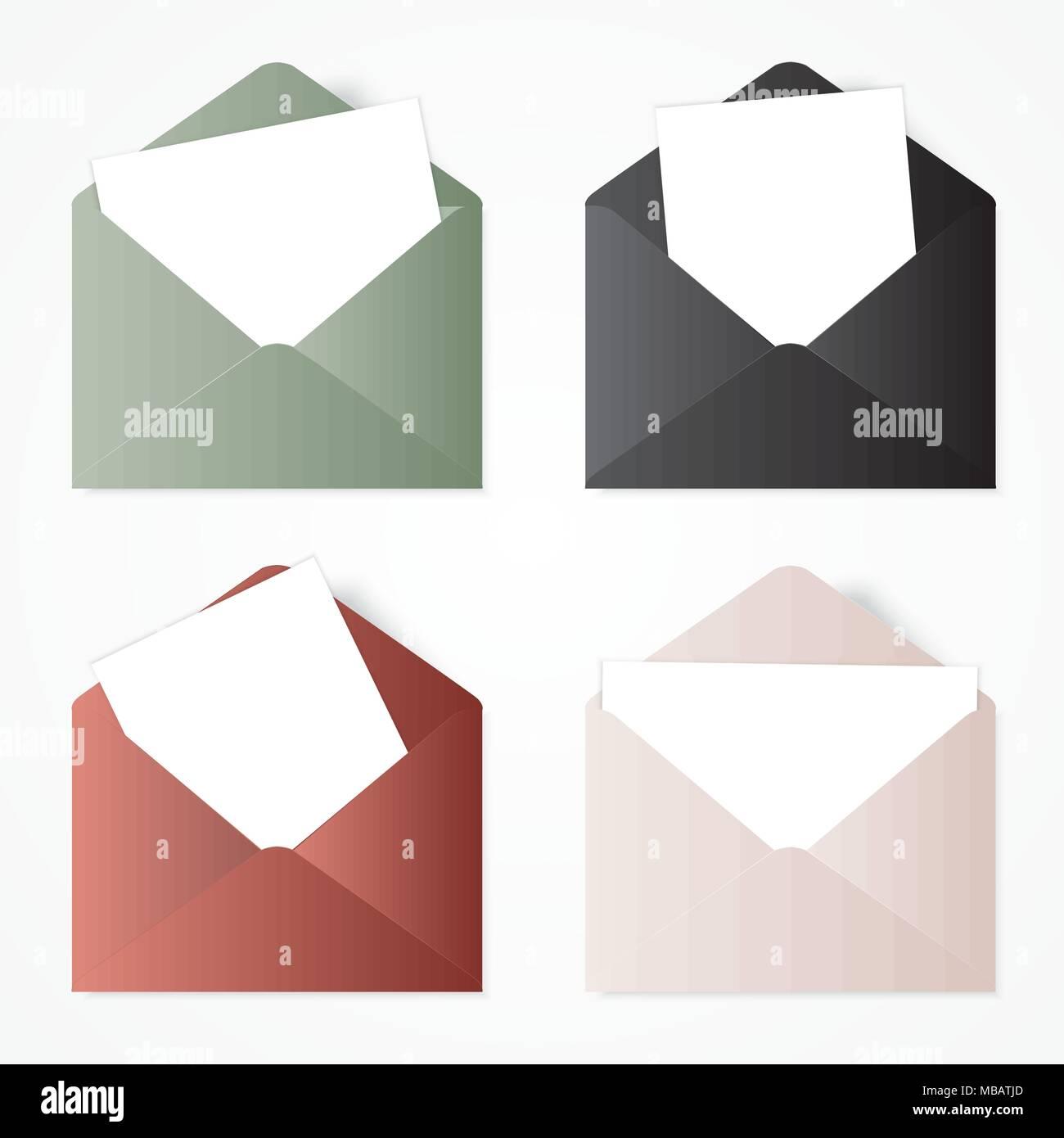 Set opened envelope . Illustration with white envelopes. - Stock Vector