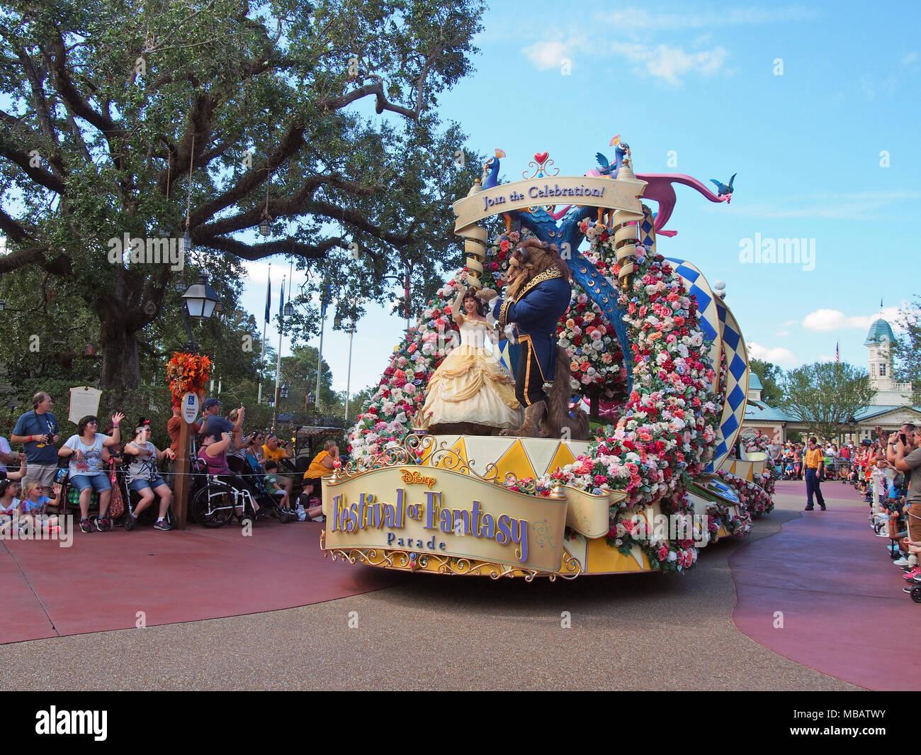 Festival of Fantasy Parade at Walt Disney World Magic Kingdom, Orlando, Florida 2017 © Katharine Andriotis - Stock Image