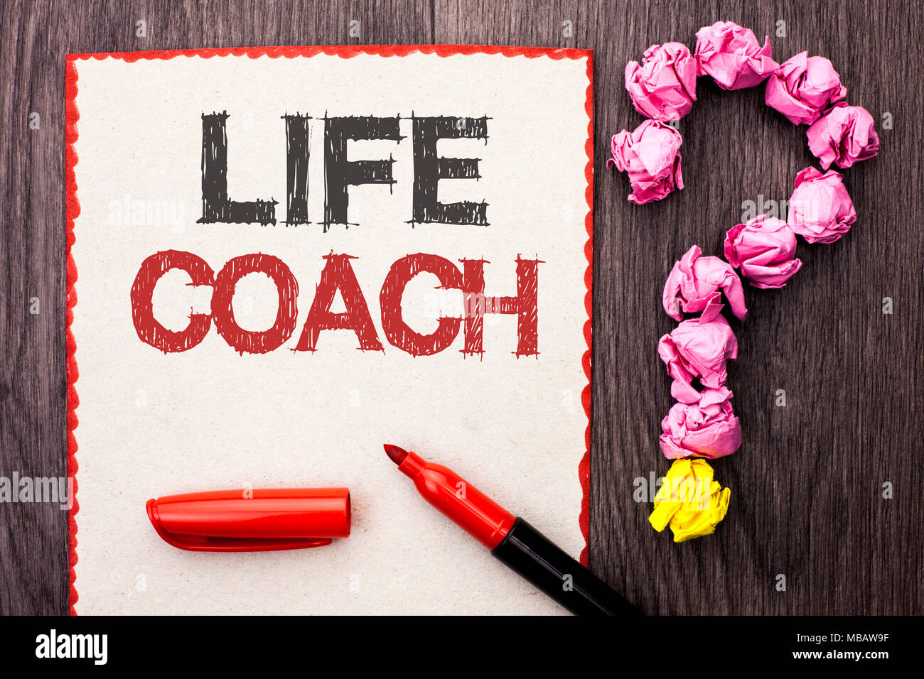Writing note showing  Life Coach. Business photo showcasing Mentoring Guiding Career Guidance Encourage Trainer Mentor written Cardboard Piece With Ma - Stock Image