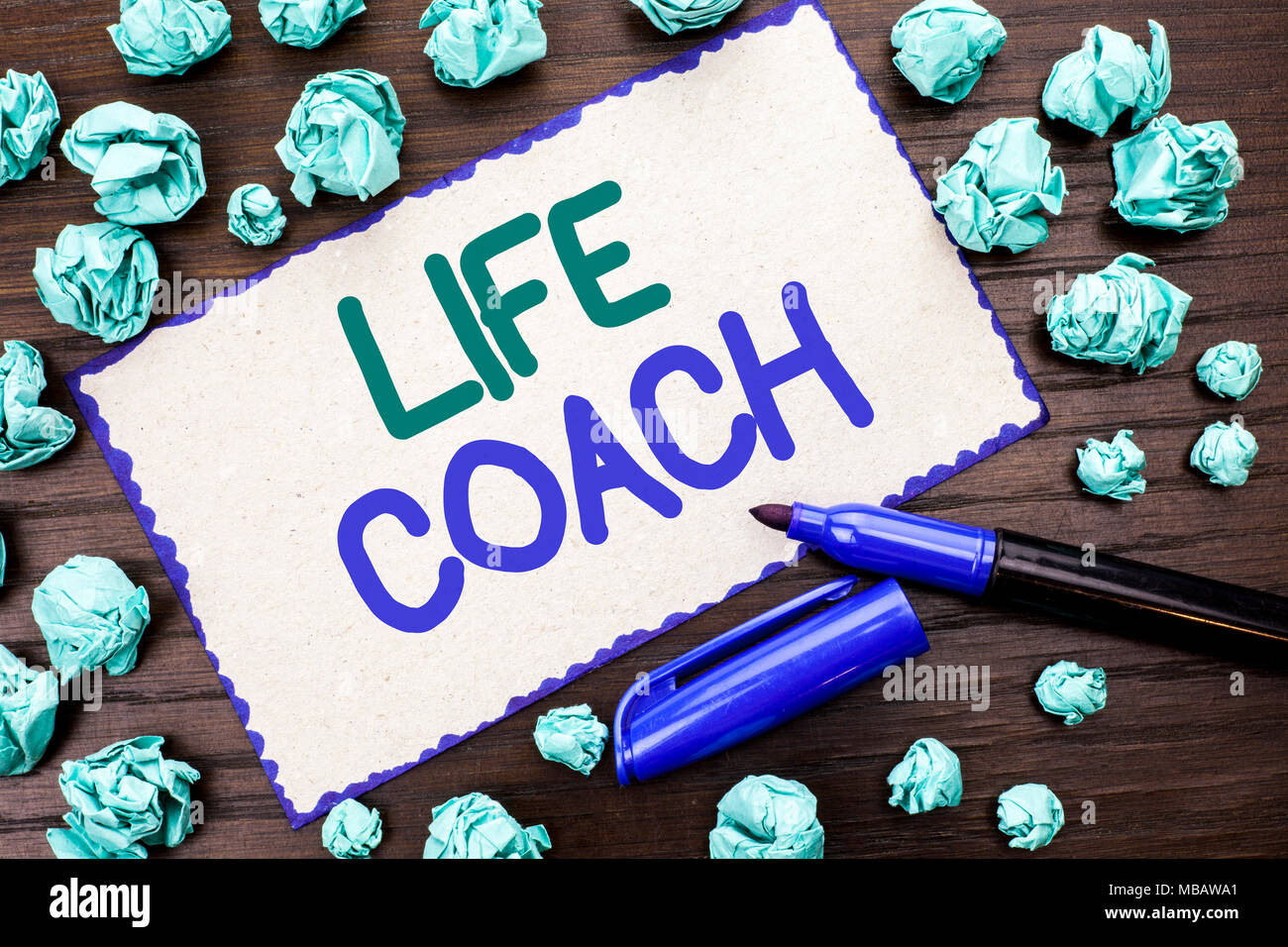 Writing note showing  Life Coach. Business photo showcasing Mentoring Guiding Career Guidance Encourage Trainer Mentor written Cardboard Piece the woo - Stock Image