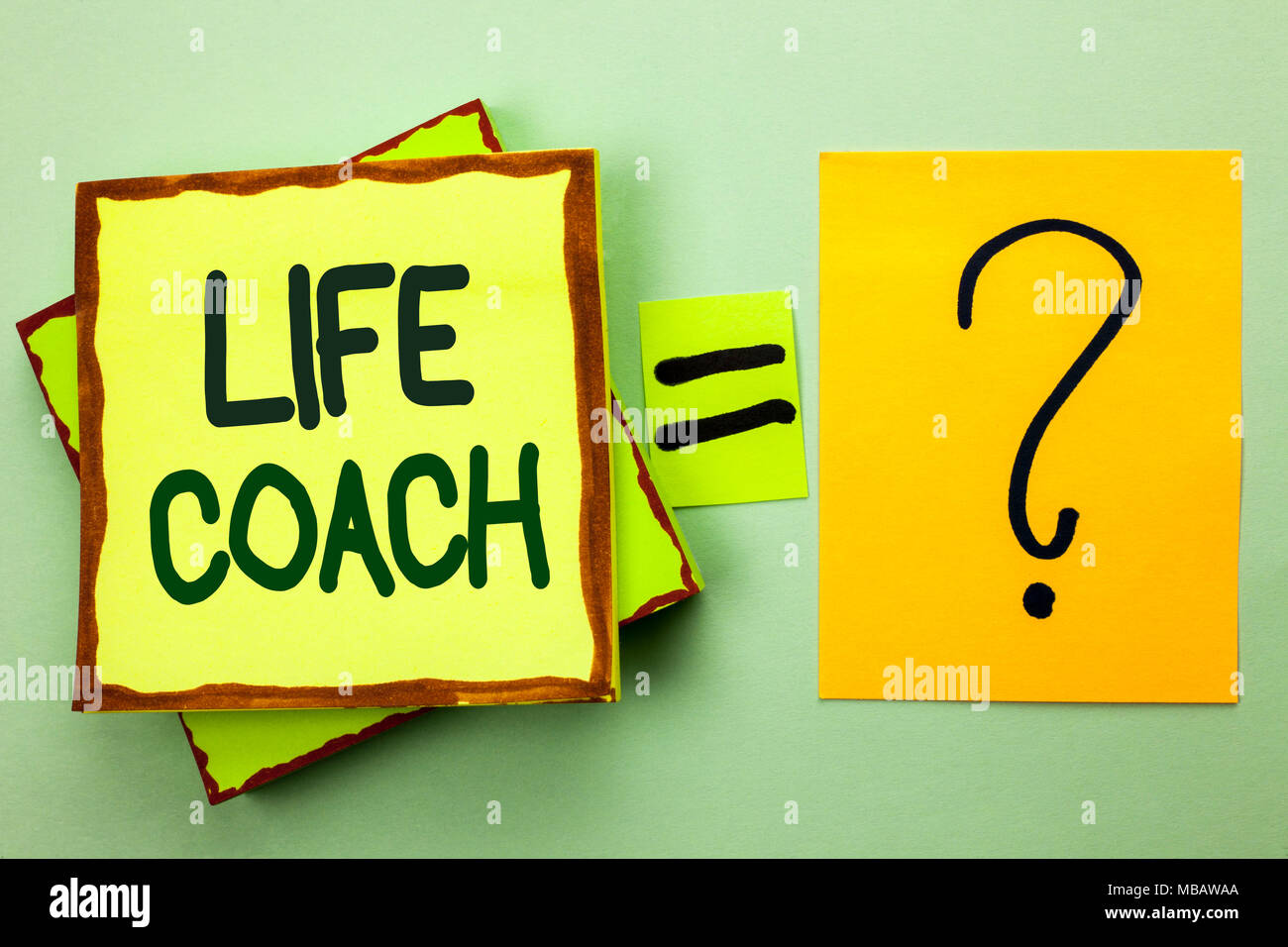 Handwriting text writing Life Coach. Concept meaning Mentoring Guiding Career Guidance Encourage Trainer Mentor written Stacked Sticky Note Papers the - Stock Image