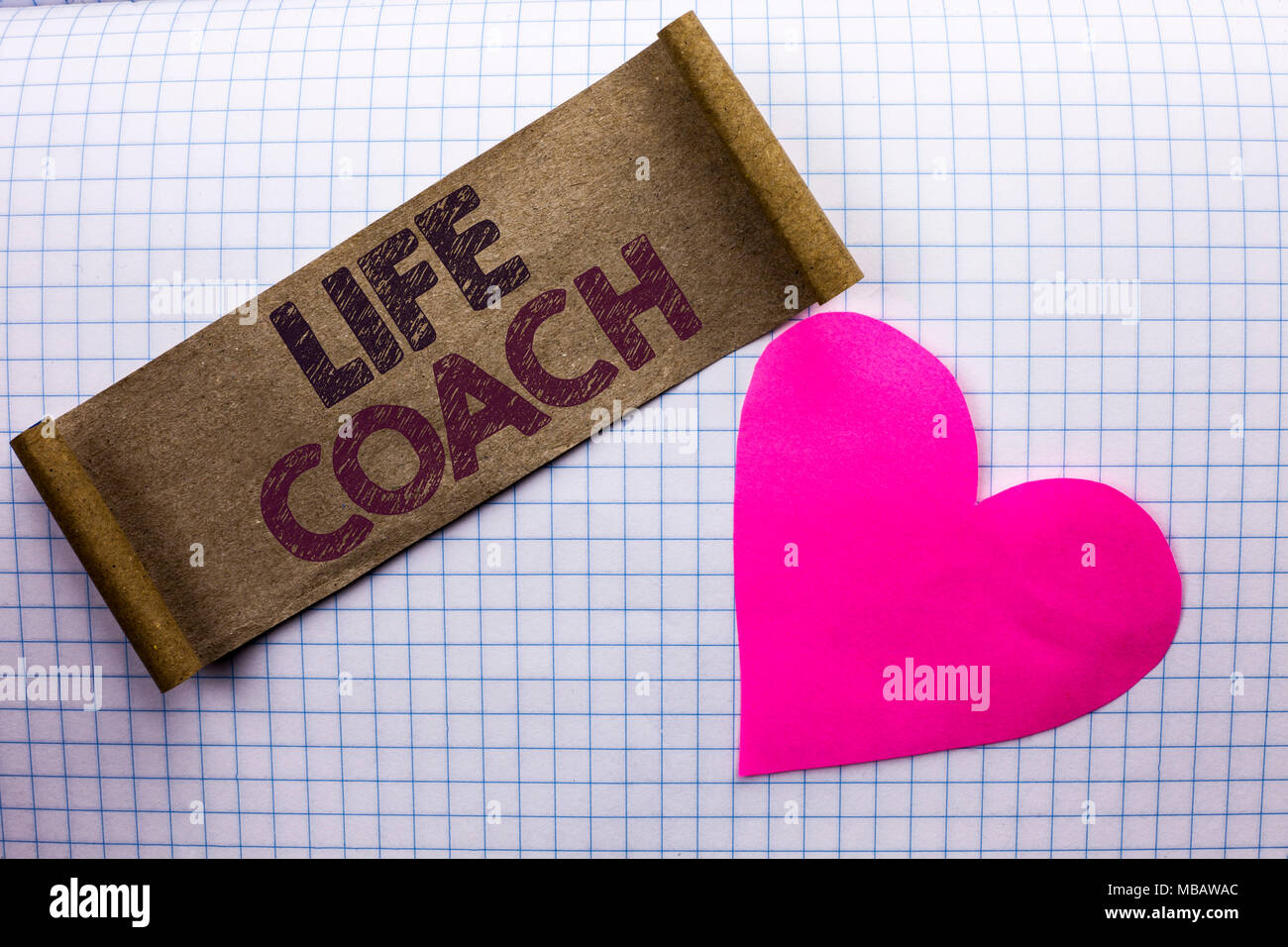 Handwriting text Life Coach. Concept meaning Mentoring Guiding Career Guidance Encourage Trainer Mentor written Cardboard Piece the check background H - Stock Image
