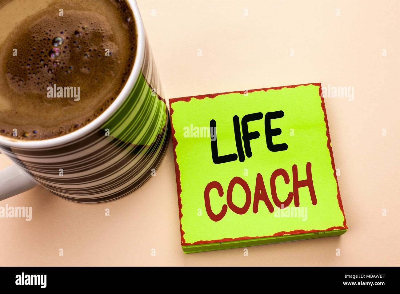 Word writing text Life Coach. Business concept for Mentoring Guiding Career Guidance Encourage Trainer Mentor written Green Sticky Note Paper the plai - Stock Image