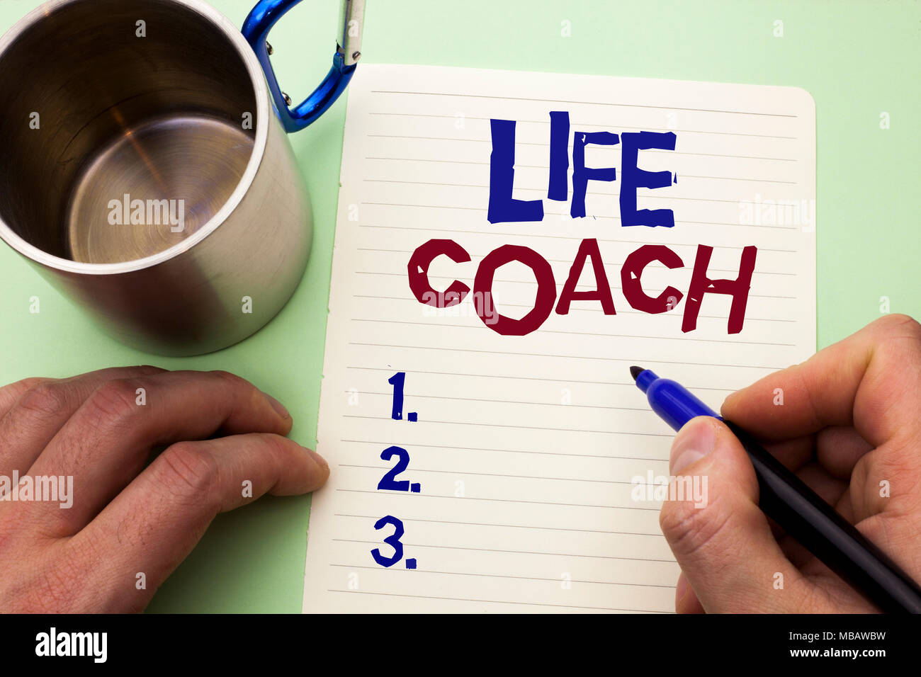 Writing note showing  Life Coach. Business photo showcasing Mentoring Guiding Career Guidance Encourage Trainer Mentor written by Man Notebook Paper H - Stock Image