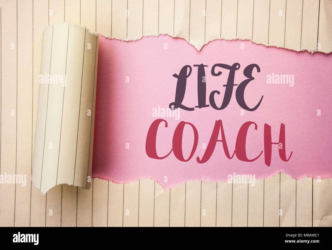 Writing note showing  Life Coach. Business photo showcasing Mentoring Guiding Career Guidance Encourage Trainer Mentor written the pink background beh - Stock Image
