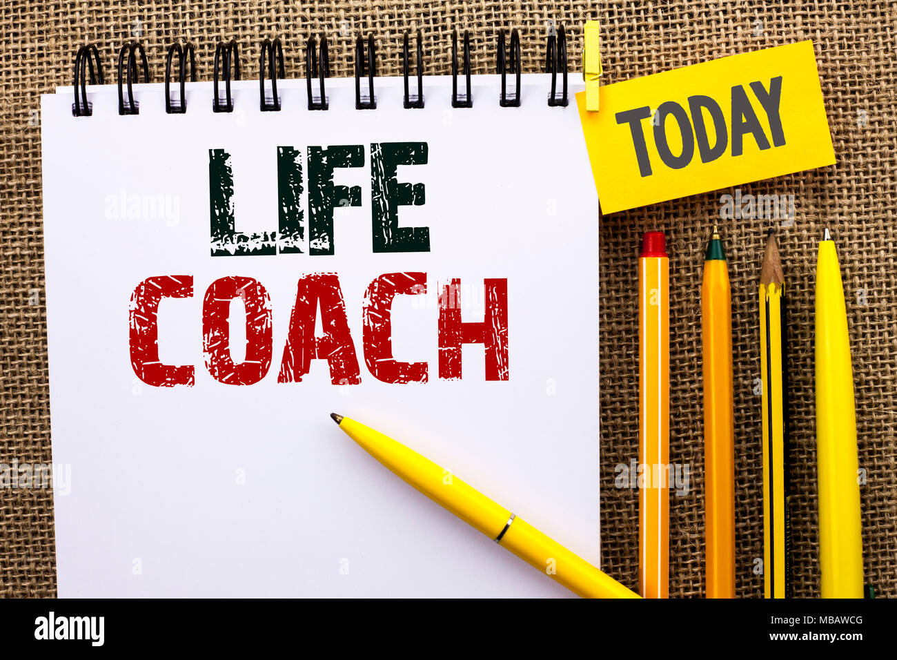Word writing text Life Coach. Business concept for Mentoring Guiding Career Guidance Encourage Trainer Mentor - Stock Image
