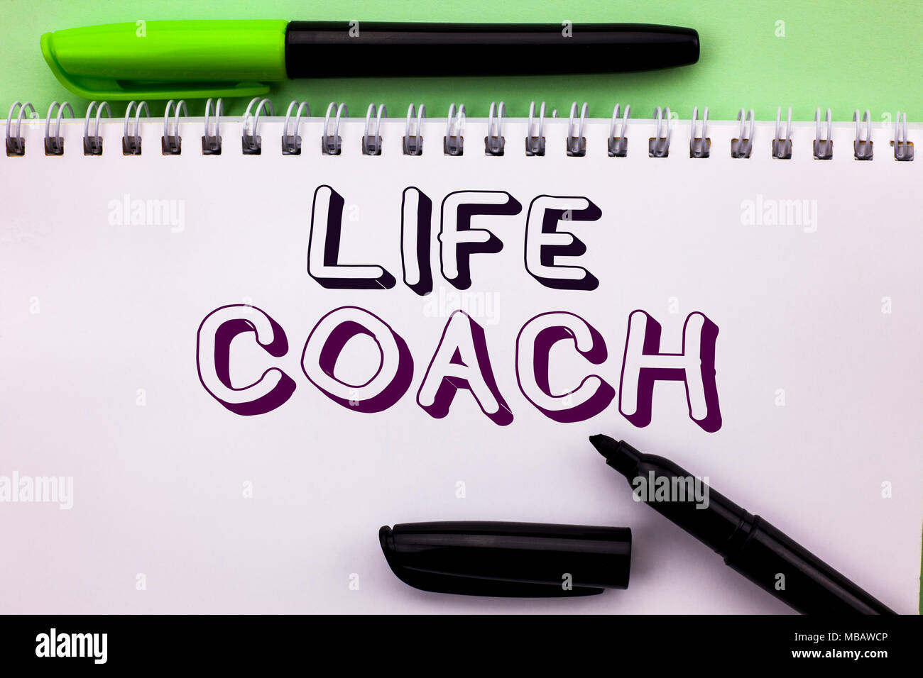 Conceptual hand writing showing Life Coach. Business photo showcasing Mentoring Guiding Career Guidance Encourage Trainer Mentor written Notebook Book - Stock Image