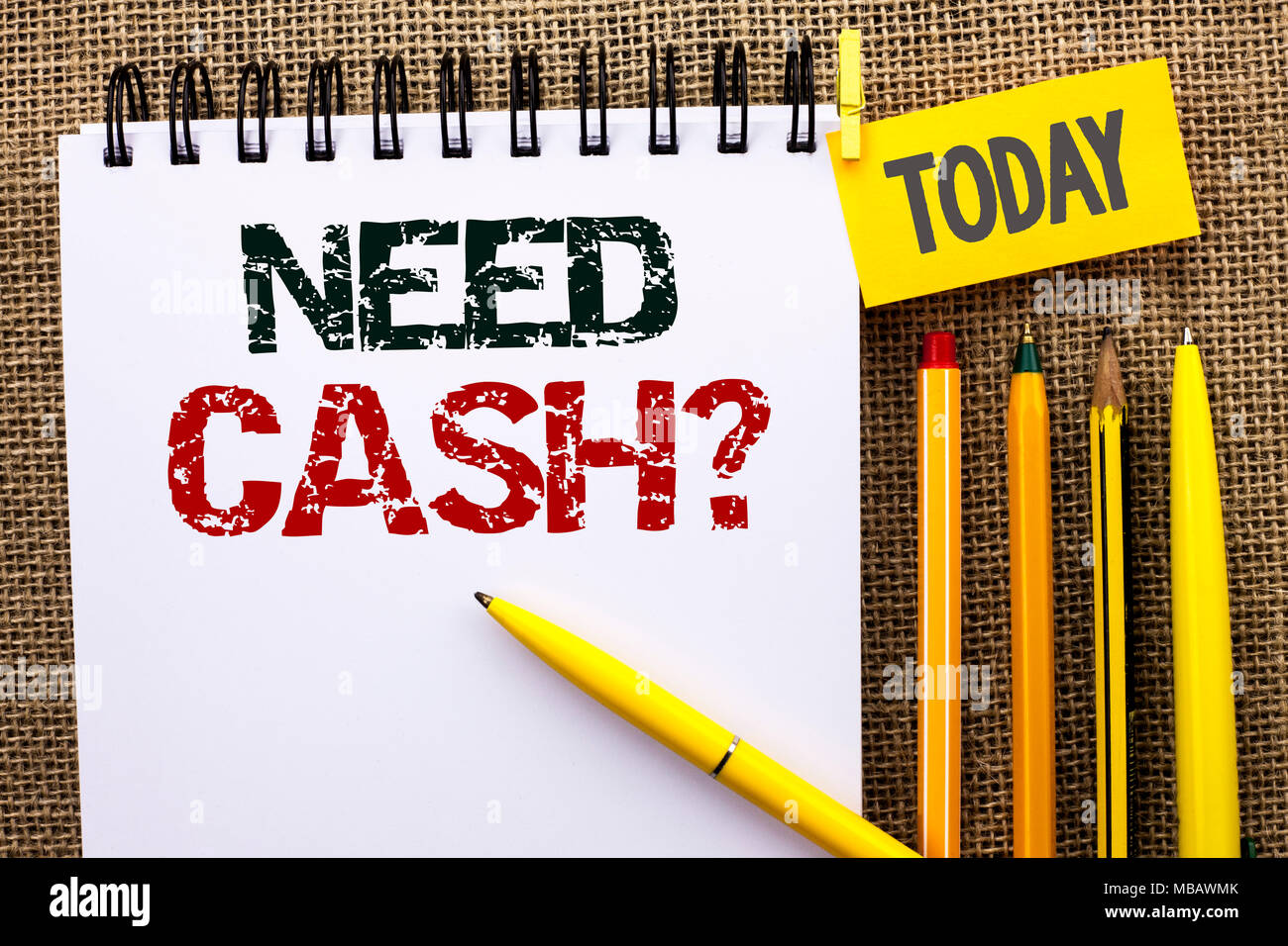 Word writing text Need Cash Question. Business concept for Wealth Question Needy Currency Money Advice Conceptual - Stock Image