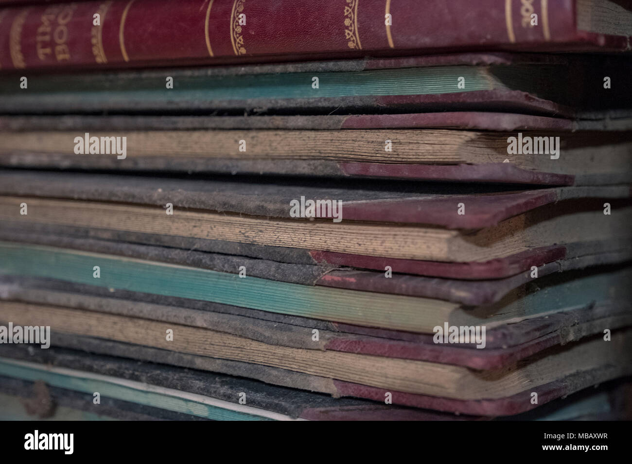 old time ledger books from a long time ago - Stock Image