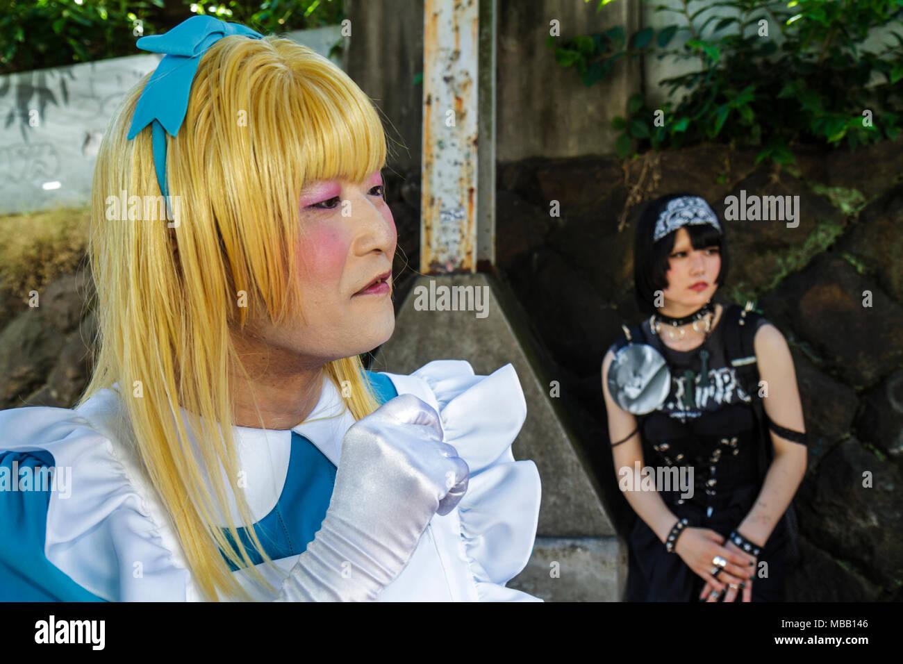 Tokyo Japan Harajuku Asian man cosplay costume play cross dresser dressed like female blonde wig - Stock Image