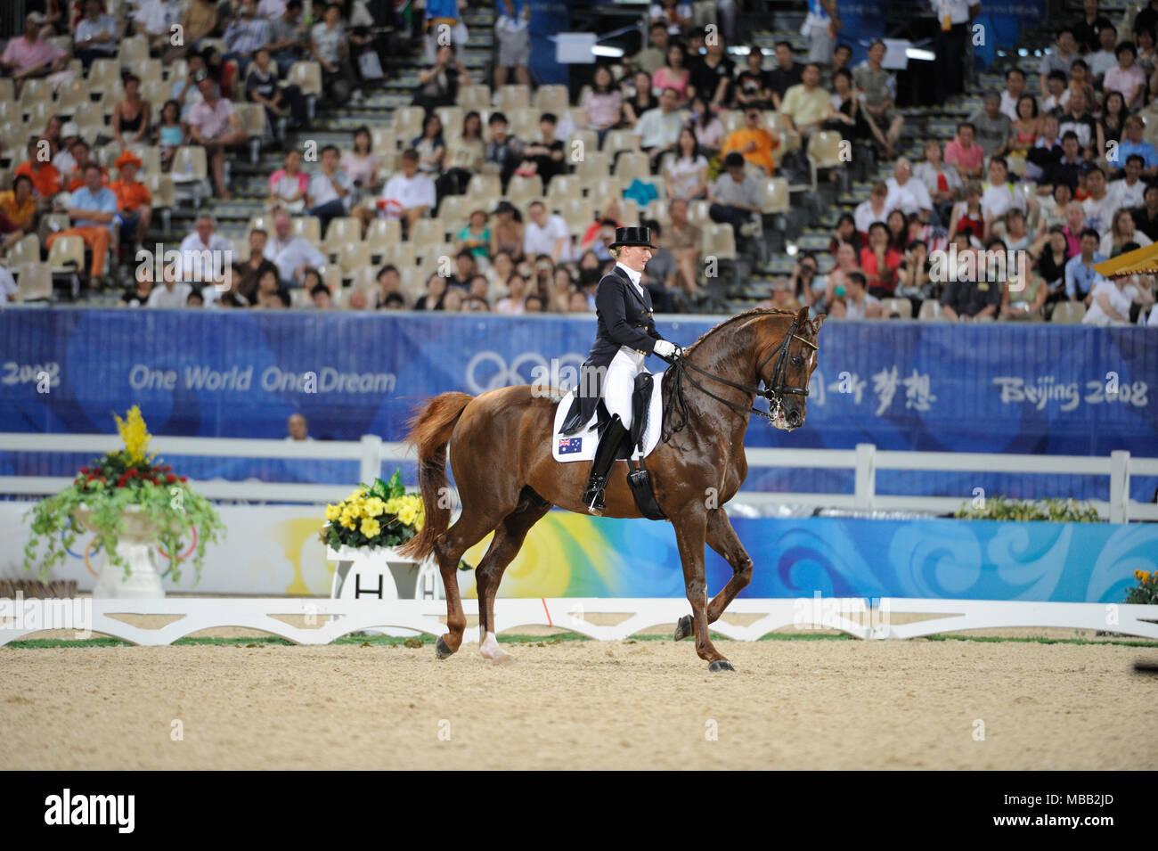 Olympic Games 2008, Hong Kong (Beijing Games) August 2008, Kristy Oatley-Nist (AUS) riding Quando-Quando, Dressage Grand Prix - Stock Image