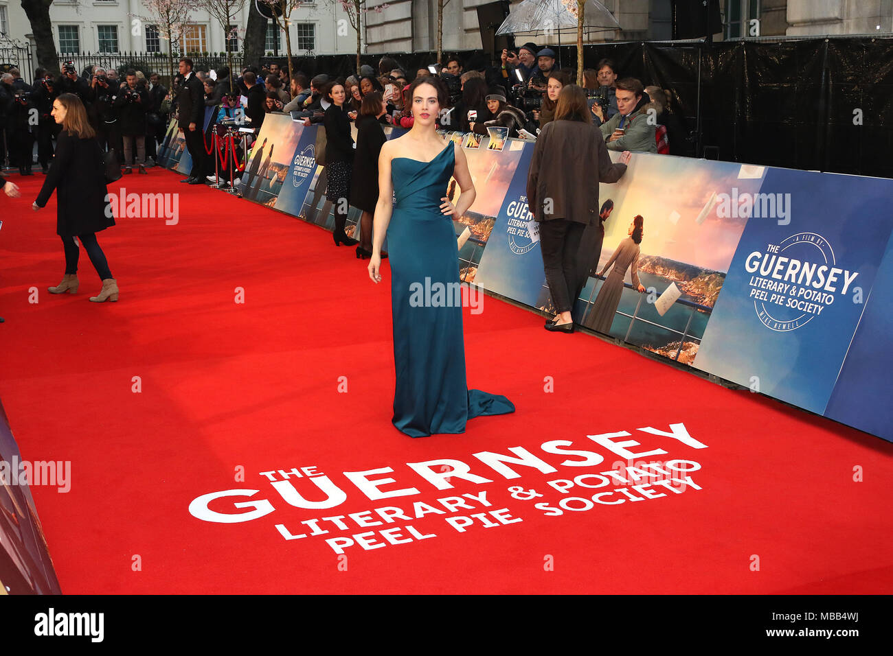 London, UK. 9th Apr, 2018. Jessica Brown Findlay, The Guernsey Literary and Potato Peel Pie Society - World Premiere, Curzon Mayfair, London UK, 09 April 2018, Photo by Richard Goldschmidt Credit: Rich Gold/Alamy Live News Stock Photo
