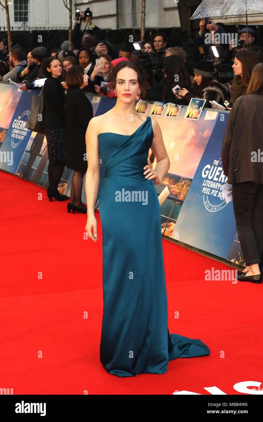 London, UK. 9th Apr, 2018. Jessica Brown Findlay, The Guernsey Literary and Potato Peel Pie Society - World Premiere, Curzon Mayfair, London UK, 09 April 2018, Photo by Richard Goldschmidt Credit: Rich Gold/Alamy Live News - Stock Image