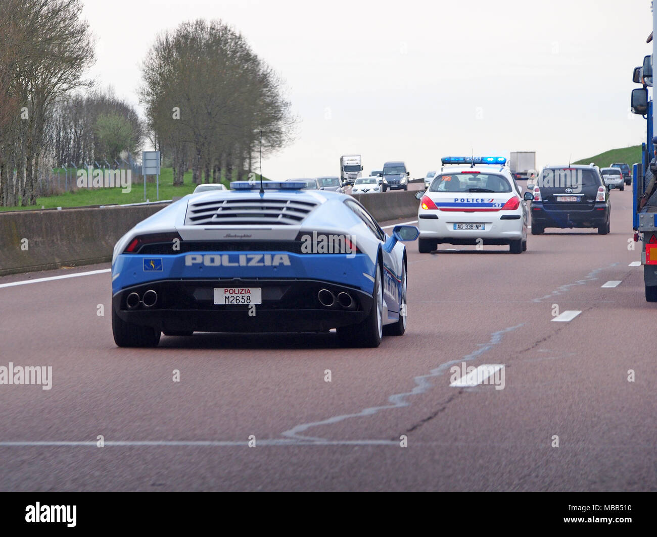 Mornas, France. 9th April, 2018. An Italian Police Lambourghini Was Spotted  Being