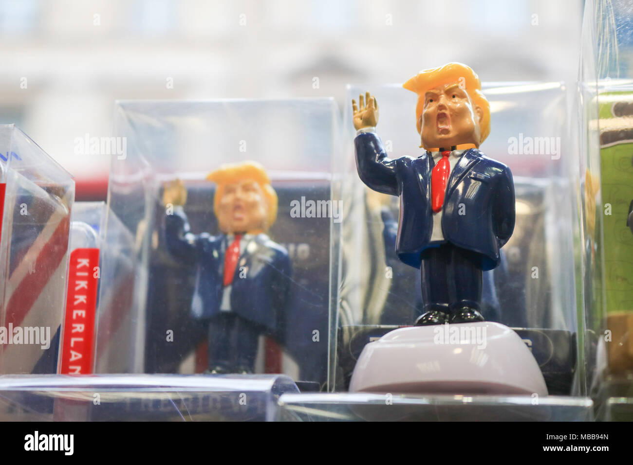 London, UK. 10th April 2018. A Souvenir shop in central London selling  figurine dolls of US President Donald Trump Credit: amer ghazzal/Alamy Live News Stock Photo