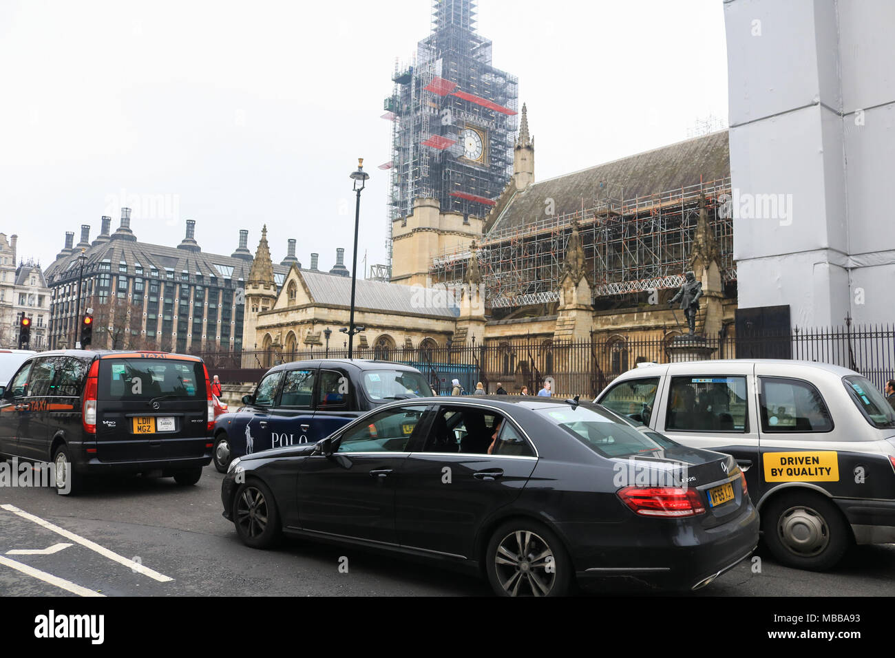 London UK. 10th April 2018. The hands which mark the time at the Big Ben clock tower have been removed as partof the Westminster renovation programme Credit: amer ghazzal/Alamy Live News Stock Photo